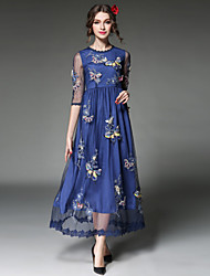 Women Plus Size Long Dress Sexy See Through Gauze Embroidery Lace Patchwork 3/4 Sleeve Party/Casual Dress