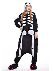 kigurumi Pyjamas New Cosplay® / Squelette Collant/Combinaison Fête / Célébration Pyjamas Animale Halloween Noir/blanc Mosaïque Polaire