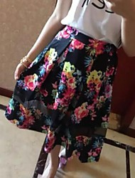 Women's Print Black Skirts,Simple Knee-length