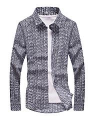 Men's Print Casual / Formal Shirt,Cotton Long Sleeve Black