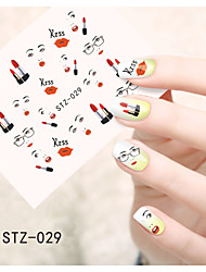 1pcs  Water Transfer Nail Art Stickers Fashion Girl Lips Flower  Butterfly Nail Art Design STZ26-30