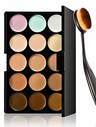 15 Colors Contour Face Cream Makeup Concealer Palette + Oval Makeup Brush Foundation Cream Tool