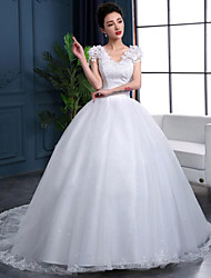 Ball Gown Wedding Dress-White Chapel Train V-neck Lace / Organza / Satin