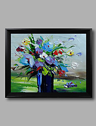 Framed (Black Frame) Stretched Mini Size Hand-painted Oil Painting Abstract Flowers Modern Ready to hang