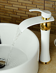 Modern Tall Waterfall Paint Ti-PVD Bathroom Sink Faucet - White+Golden