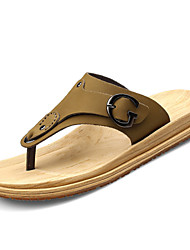 Men's Shoes Outdoor / Casual Leather / Fabric Flip-Flops Yellow / Khaki