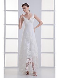 Lanting Bride® A-line Wedding Dress Sweep / Brush Train Off-the-shoulder Tulle with Ruffle / Appliques / Beading