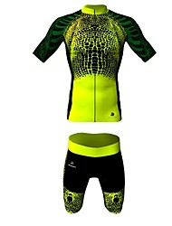 MYKING Men's Cycling Bike Short Sleeve Clothing Set Bicycle Wear Suit Jersey and Shorts GREEN Zombie