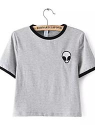 Women's Casual/Daily Cute Summer T-shirt,Striped Round Neck Short Sleeve White Cotton Medium