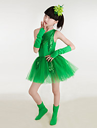 Performance Children's Performance Cotton / Polyester Sequins Dresses Dance Costumes