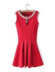 Damen Kleid-Hülle Einfach Solide Übers Knie Polyester Rundhalsausschnitt