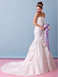 Lanting Bride Trumpet/Mermaid Wedding Dress-Chapel Train Strapless Lace / Taffeta