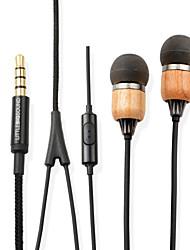littlebigsound Eiche Premium-Echtholz In-Ear geräuschisolierenden Kopfhörer mit Mikrofon&Fernbedienung für Smartphone