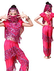 Belly Dance Outfits Indian Children's Performance Chiffon Sequins / Tassel 6 Pieces Fuchsia / Green / Red / Yellow