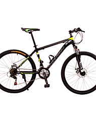 Dequilon Warriors 26-inch mountain bike double disc variable speed road bike 21 speed black green casual version