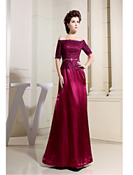 Formal Evening Dress Sheath/Column Bateau Floor-length Lace / Charmeuse