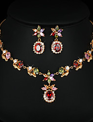 Copper Bridal Austrian Crystal Jewelry Sets Necklace Earrings Set New Design Zircon Setting