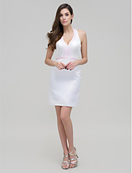 TS Couture® Cocktail Party Dress - Ivory Sheath/Column Halter Short/Mini Stretch Satin