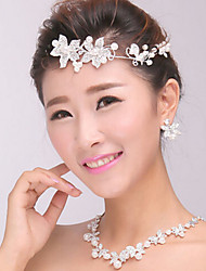 Women's Silver Crystal Pearl Headband Forehead Hair Jewelry for Wedding Party