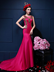 Formal Evening Dress Trumpet / Mermaid Scoop Court Train Satin / Tulle with Beading / Crystal Detailing / Pearl Detailing / Sequins
