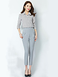 Women's Solid Black / Gray Suit Pants,Plus Size / Casual / Day