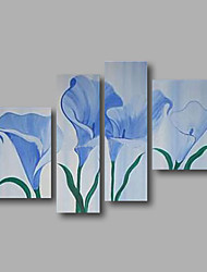 "Stretched (ready to hang) Hand-painted Oil Painting 52""x44"" Canvas Wall Art Modern Flowers Light Blue"