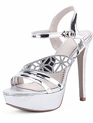 Women's Shoes Patent Leather Stiletto Heel Platform Sandals Wedding / Party & Evening / Dress Silver / Gold
