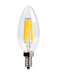 6 E12 Luces LED en Vela C35 6 COB 600 lm Blanco Cálido Impermeable / Regulable AC 110-130 V 1 pieza