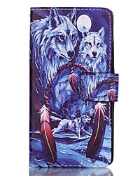 Wolf Pattern Magnetic Flip Wallet PU Leather Phone Case for Huawei P9