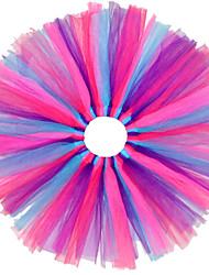 Menina de Vestido / Saia Verão / Primavera / Outono Algodão / Poliéster Azul / Colorido / Violeta