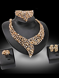 Lucky Doll Diamond Vintage 18K Gold Plated Rhinestone Necklace & Earrings & Bracelet & Ring Party Jewelry Sets
