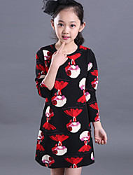Girl's Cotton Spring / Fall Cartoon Girl Pattern Long Sleeve Dress