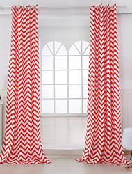 Dois Painéis Rústico Riscas Vermelho Sala de Estar Algodão Painel Cortinas cortinas