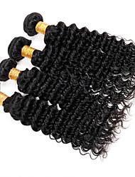 """4st mycket 8 """"-30"""" indian jungfru hår djup våg naturligt svart lockigt människohår väva buntar skjul&trasselfri"""