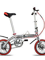 Dequilon K8 14 inch mini folding bike double disc brakes silver single speed bicycle Ultraportability
