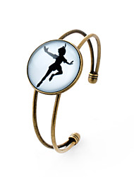 Lureme® Simple Jewelry Time Gem Series The Girl Dancing Disc Charm Open Bangle Bracelet for Women and Girl