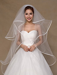 Wedding Veil Four-tier Fingertip Veils Ribbon Edge Tulle Ivory