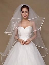 Wedding Veil Four-tier Fingertip Veils Ribbon Edge Tulle Ivory Ivory