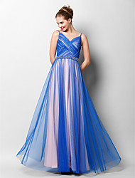 TS Couture® Prom  Formal Evening Dress A-line Spaghetti Straps Floor-length Tulle with Beading / Criss Cross