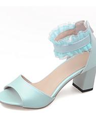 Damen Sandalen Pumps PU Sommer Kleid Pumps Schnalle Blockabsatz Blau Rosa 2,5 - 4,5 cm