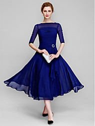 Lanting Bride A-line Mother of the Bride Dress Tea-length Half Sleeve Chiffon with Ruching