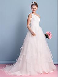 A-line Wedding Dress - Ivory Court Train One Shoulder Organza