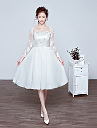 Cocktail Party Dress-Ivory A-line Jewel Knee-length Chiffon / Tulle