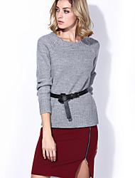 Women's 2Pcs Slim Long Sleeve Sweater Split Skirt Suit With Belt