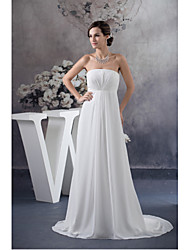 Formal Evening Dress A-line Strapless Sweep / Brush Train Chiffon with Draping