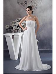 Formal Evening Dress-Ivory A-line Strapless Sweep/Brush Train Chiffon