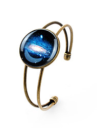 Lureme® Simple Jewelry Time Gem Series Galactic System Disc Charm Open Bangle Bracelet for Women and Girl
