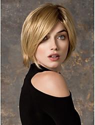 Medium Length Straight Hair European Weave Blonde Color Hair Synthetic Wig