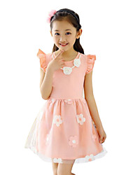 Girl's Pink / White Dress Cotton Summer
