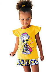 Girl's Yellow Clothing Set Cotton Summer
